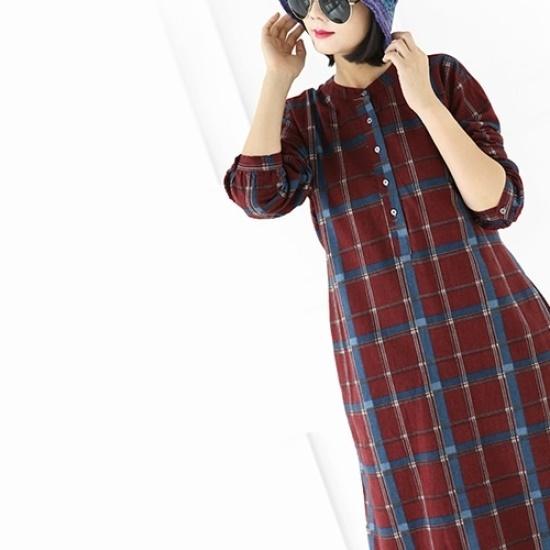 ミジ、ショッピングモールバンオプンチェックワンピース 綿ワンピース/ 韓国ファッション