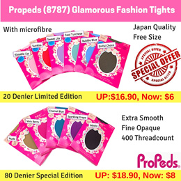 Propeds (8787) 20 Denier Glamorous Fashion Tights Japan Quality - Limited Edition and 80 Denier Glamorous Fashion Tights - Special Edition with Microfibre Free Size