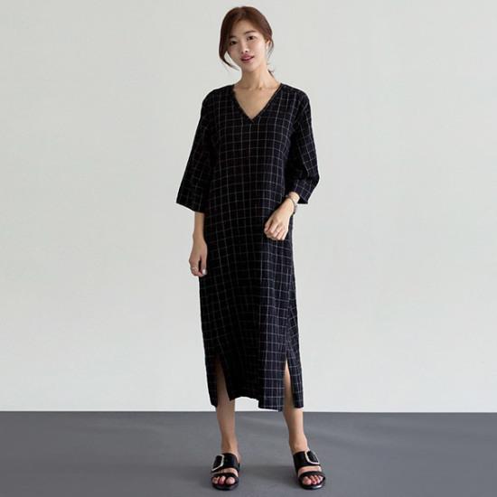 るみさんチェックブイロングスリットワンピース 綿ワンピース/ 韓国ファッション