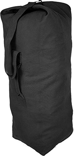 Army Universe ArmyUniverse Black Jumbo Top Load Canvas Military Duffle Bag  (25 x 42) 087850bc3b6