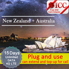 ◆ ICC◆【New Zealand + Australia Sim Card· 15 Days】❤ 4G LTE/3G + Unlimited data + call ( NEED TOP-UP)