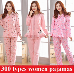 Women long sleeve sleepwear with button women pajamas women pyjamas cute and lovely women clothes