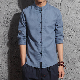 Chinese Style Linen Half-Sleeved Shirt Male Seven-Point Sleeve Spring And Summer Self-Cultivation Co