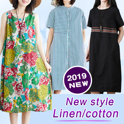 355239f5308a  BUY3 FREE SHIPPING 2019 new arrival cotton and linen short sleeved dress  pants skirt