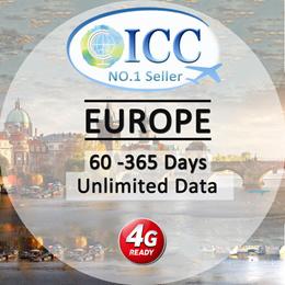 ◆ ICC◆【Europe Sim Card · 60/70/90/365 Days】Unlimited data/12GB/24GB Data❤ UK+Europe❤ Plug and Use