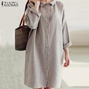 ZANZEA Women Autumn Fashion Long Sleeve Knee Length Casual Loose Cotton Dress Plus Size