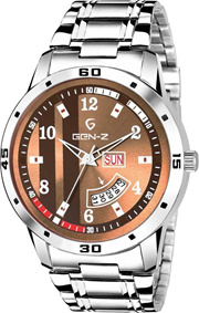 Watch D4 Brown Dial Day Date Silver Metal1 SN-SDD-0060 (box pack)