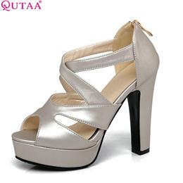 049be0711e0 women sandal square high heel platm women shoes black zipper peep toe pu  leather ladies wedding