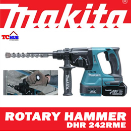 MAKITA 18V CORDLESS ROTARY HAMMER DHR 242RME *Efficient Brushless DC Motor provides higher productivity *Versatile 3 Mode Operation *Excellent Maneuverability