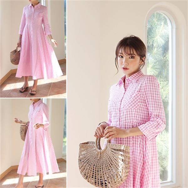 ピュー・チェックOPS new フレアワンピース/ワンピース/韓国ファッション