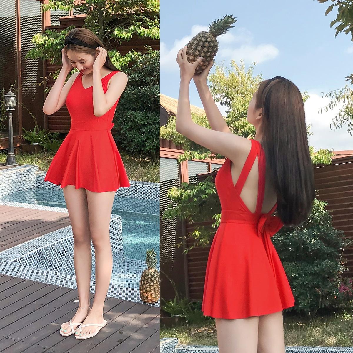 韓國正品 CHERRYKOKO 夏季新品 fancy ribbon 甜美蝴蝶結亮色連體比基尼泳裝