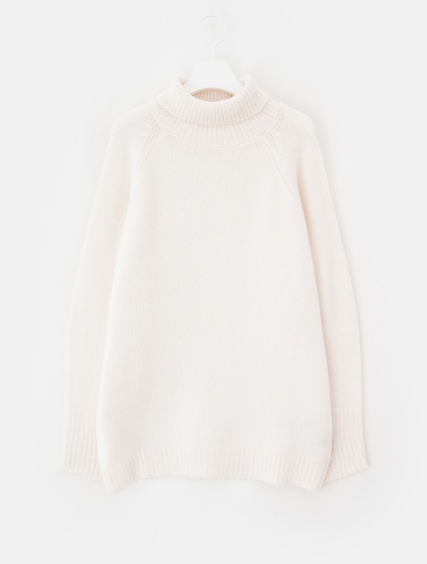 8SECONDS Basic Loose Fit Turtle Neck Pullover - Ivory