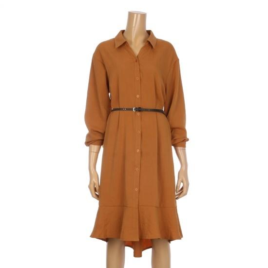 ボニーのアレックス・オンバルフリル腰ベルトカラワンピースBCOA701A 面ワンピース/ 韓国ファッション