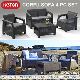Keter Corfu Set Sofa Coffee Table Outdoor Furniture / rattan design / Garden weather-proof couch