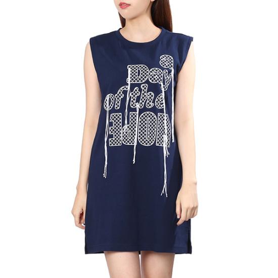 ジジピエクス英文レタリング、袖なしのミニワンピースGHC7OP802F 面ワンピース/ 韓国ファッション