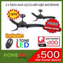2 SETS FANCO Acon 42 / 52 inch Ceiling Fan Buddy bundle. Includes 3 colour LED light + Installation