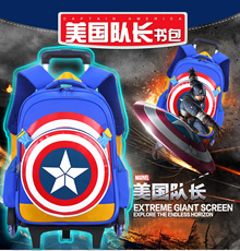 *High Quality* Trolley Removeable Backpack 2/6 wheel Cute Cartoons Kid children school bag