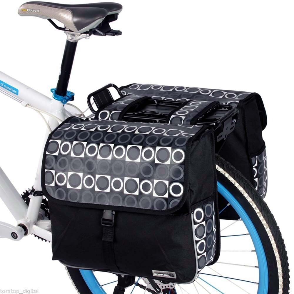 ROSWHEEL 28L Cycling Bicycle Bike Rear Rack Tail Seat Bag Double Side  Pannier Storage Bag Pack