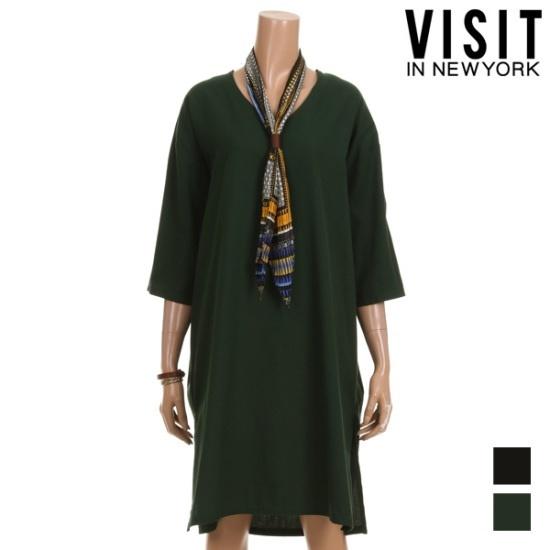 ・ビジット・インニューヨークマレドロップVワンピースVTIOP05 面ワンピース/ 韓国ファッション