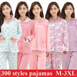 Women plus size sleepwear cute and lovely pajamas big size girl pyjamas top and bottom set sexy