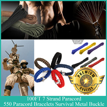 100ft Strand Survival Rope Reflective Paracord 550 Parachute Lanyard Bracelets Metal Buckle 5pcs