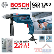 Bosch GSB 1300 IMPACT DRILL C/S 2 SETS DRILL BIT SET. Powerful 550 watt motor with 13mm keyed chuck.