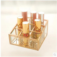 Transparent glass retro copper lace creative desktop 9 lipstick lipstick storage rack