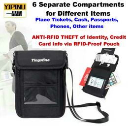 Anti-RFID Theft Travel Neck Bag for Tickets Passports Cash Phones Keys etc