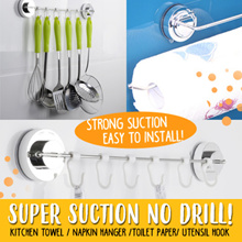 Super suction non drill holder/Kitchen towel/napkin hanger/cling wrap/toilet paper/utensil hook/