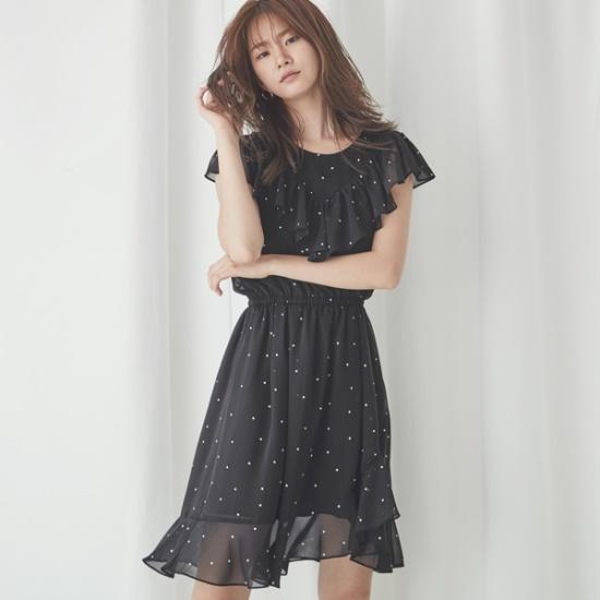 ナインNAINシフォン・ドットパターンワンピースOP3286 面ワンピース/ 韓国ファッション
