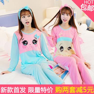 bf4bb1be4492 Spring summer and autumn Pajamas women long sleeves cotton Ms cartoon size  girlfriends cute Korean a