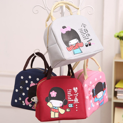 Cute Japanese girl lunch bag lunch box bag large thick insulation bag  student lunch box bag waterpro
