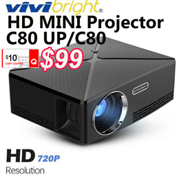 C80 UP Mini Projector 2200Lumens Projector 1280x720P Home Cinema (Android WIFI ) LED Proyector c80