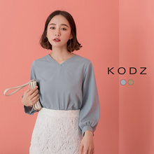 KODZ - After tie-up Solid Color V-neck Top - 190043