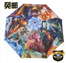 Free Shipping League of Legends Creative Cartoon Umbrellas LOL Manual 3 Folded Umbrellas Rain or Shi