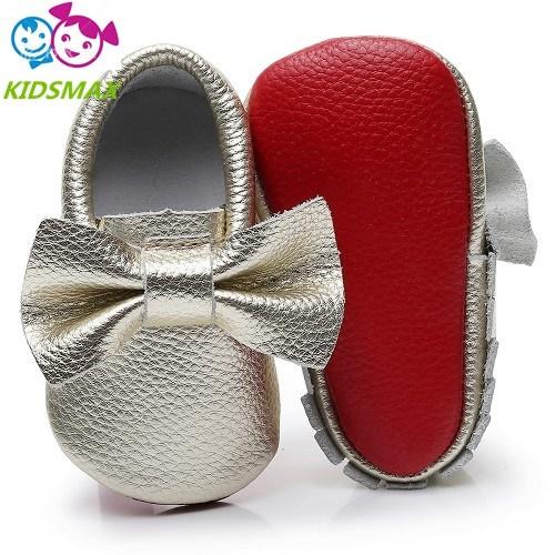 4da4c149d13 Qoo10 - 2019 100% Genuine Leather red bottom baby shoes big bow soft ...