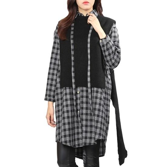 ジジピエクスニットベストチェックのシャツ、ワンピースGHDBKO921F 面ワンピース/ 韓国ファッション