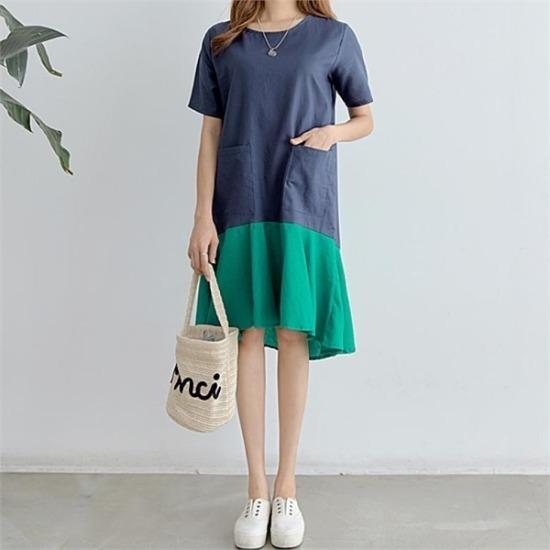 ピピン行き来するようにピピングエル配色フレアワンピース34721 プリントのワンピース/ 韓国ファッション