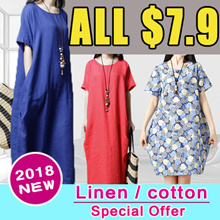 ★Real Flat Price★【Buy 3 Free Shipping】2018 new arrival cotton and linen short sleeved dress pants skirt shawl