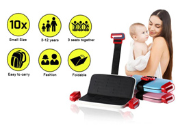 Foldable Child Safety Seat Increased Pad Portable Car Booster Seat Belt Converter Adjustable for 3-1