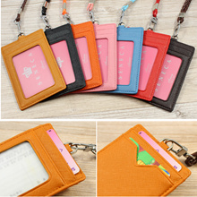 [BUY 2 FREE SHIPPING] Genuine Leather 2-sided ID Badge Card Holder Wallet with Neck Lanyard Strap