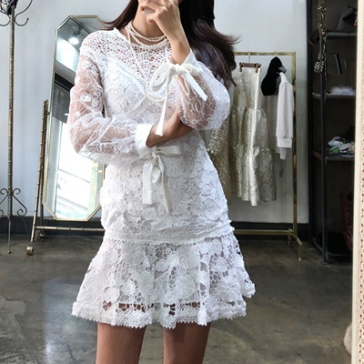 b200720bfd09b [Comma M] Korea Luxury Sure White Dress / one-piece / free shipping