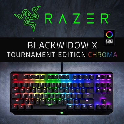 e8774d8f61c Razer BlackWidow X TE Chroma Clicky RGB Mechanical Gaming Keyboard Military  Grade Metal Construction