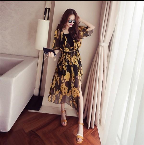 レディースワンピース 韓国無地 スリム 韓国のファッション 上品  学院?  シフォンワンピース Vネックプリントワンピース ボヘミア ハイセンス 着心地いい おしゃれ 夏 スリム セール★ レディースワンピース