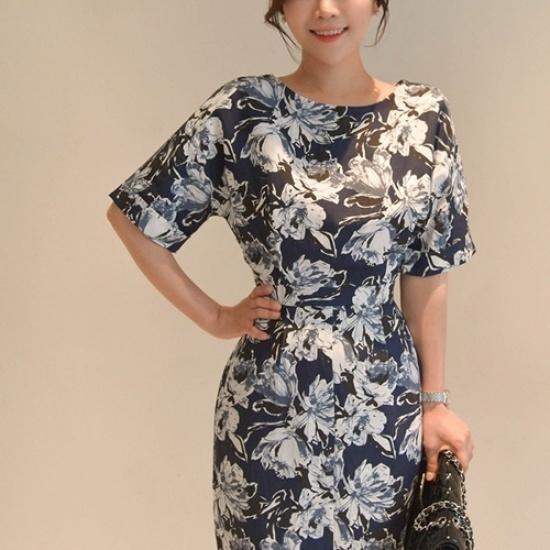 悪女日記】バリ島リンネンワンピース5577 プリントのワンピース/ 韓国ファッション