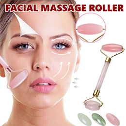 ♥buy 2 fr shipping♥Natural Rose Crystal Quartz Facial Massage Roller Double Head Jade Stone Face Anti Wrinkle Slimming
