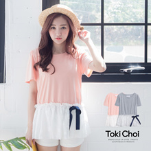 TOKICHOI - Color Block Tee with Bow-6012165