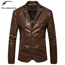 factory Autumn New Men Faux Leather Fashion Casual Dress Blazers Jacket Slim Men s high quality Moto