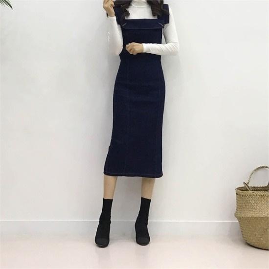 ココジェン行き来するようにココジェンラビのデニムロングワンピース 塔/袖なしのワンピース/ 韓国ファッション