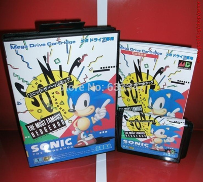Sega games card - Sonic the Hedgehog 1 with box and manual for Sega  MegaDrive Video Game console sys